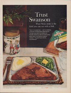 The lean, juicy beef is so tender and flavorful. Served up with rich brown gravy, green beans, and buttered whipped potatoes. Made only by Campbell Soup Company. Retro Advertising, Vintage Advertisements, Vintage Ads, Vintage Food, Retro Food, Retro Ads, Retro Recipes, Vintage Recipes, Tv Dinner Trays