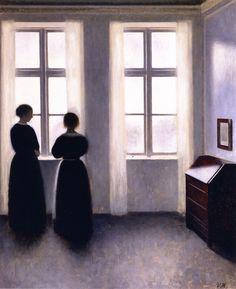The Athenaeum - Figures by the Window (Vilhelm Hammershøi - circa 1895)