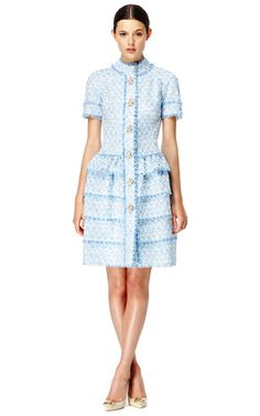 Shop Aquamarine Dress With Full Tiered Skirt by Oscar de la Renta Now Available on Moda Operandi
