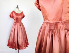1950s Dress / 50s Gown / Metallic Satin / XS S Interesting detail of stirring or gathers on skirt