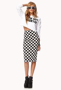 Checkered Midi Skirt   FOREVER21 Check mate! #MidiSkirt #BlackAndWhite