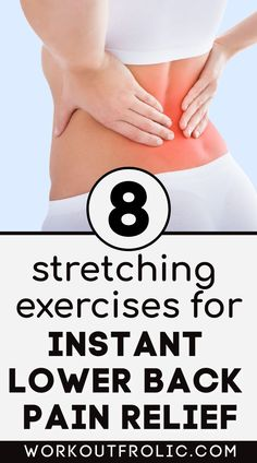Try this stretching routine consisting of 8 lower back stretches that ease pain and stiffness caused from excessive sitting or overtraining. #lowerbackpain #stretching #mobility #yoga Lower Back Pain Causes, Back Stretches For Pain, Lower Back Pain Relief, Lower Back Exercises, Low Back Pain, Back Workout Women, At Home Workouts For Women, Back Excersises, Yoga For Weight Loss