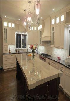 Polished Sea Pearl Quartzite Kitchen Countertop,White Quartzite Kitchen  Island Top