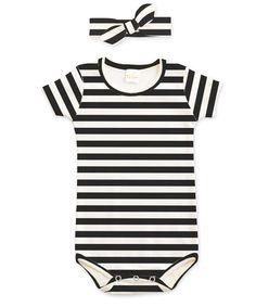 Another great find on #zulily! Ivory & Black Striped Bodysuit & Headband - Infant #zulilyfinds