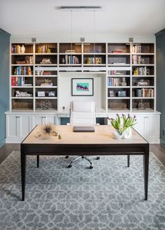 Isagenix Back Office Reference Idea of Transitional Home Office with Bookcase Bookcase Sconce Custom Built in Custom Desk Custom Wall Unit Floating Desk Jeff Lewis Color Green with Envy Lattice Rug Modern Farmhouse Office Accessories Painted and Stained Built In