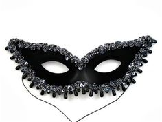 Elegant Raindrop Women's Masquerade Mask with Lace and Trim