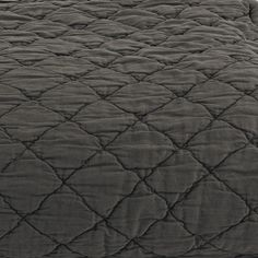 Louisa Queen Coverlet in Charcoal - Available at Workroom Couture Home