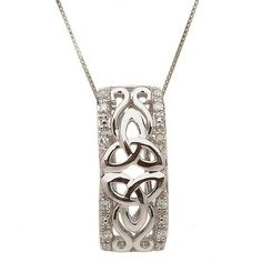 Beautifully hand-crafted in 10K white gold and brand new tothe shanore gold collection. This unique pendant incorporates two trinity knotslying side by side which symbolizes a love never ending, it also gives you amore modern stylish looking diamond pendant. Also available is 10K yellow gold.