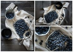 Blueberries flat lay with linen and silver  |  Nadeen Flynn Photography