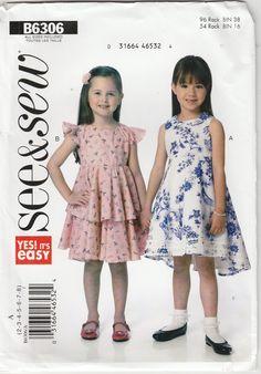 c41dda471475 Girls Easy Dress Pattern Lined Bodice Raised Waist Girls Size 2 - 3 - 4 - 5  - 6 - 7 - 8 Uncut See   Sew 6306 EASY