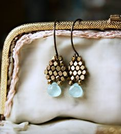 Blue Chalcedony and Brass Drop Earrings