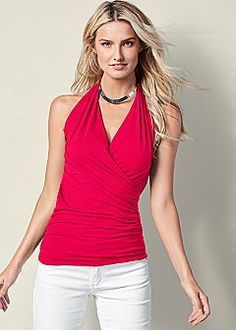 Halter style tops are soooooo stylish but can be tricky when it comes to accessorizing with jewelry.