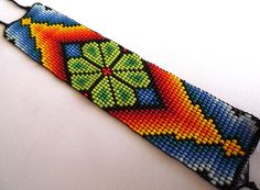 Mexican Huichol Loom Beaded Peyote Bracelet