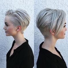 Undercut pixie platinum bleach blonde color                                                                                                                                                     More