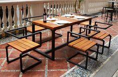 Longa-mesa-de-madeira-de-ferro-loft-retro-minimalista-pequena-sala-de-jantar-cadeira-mesa-combinação.jpg (711×468)