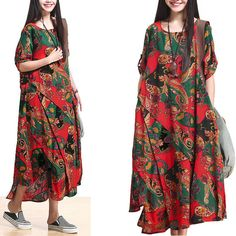 Casual Loose Fitting Short Sleeved Cotton and Linen Long Dress-  Red - Women Maxi dress (R)
