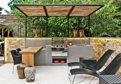38 The Best Summer Kitchen Outdoor Ideas For Your Backyard - SearcHomee Outdoor Kitchen Patio, Outdoor Kitchen Design, Outdoor Spaces, Outdoor Living, Outdoor Decor, Outdoor Ideas, Backyard Office, Backyard Patio, Barbacoa Jardin
