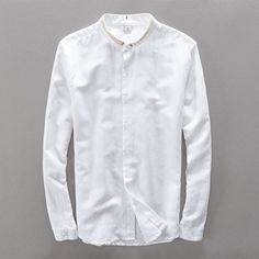 042063f4e5 Chinese Style Small Turn-down Collar Solid Long Sleeve Shirt Men Linen  Cotton Men Shirts