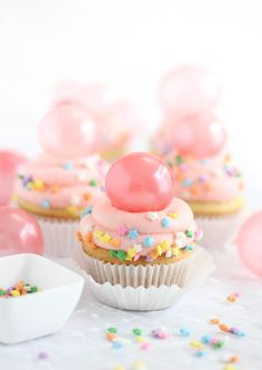 Bubble Gum Frosting Cupcakes with Gelatin Bubbles #cupcakes #cupcakeideas #cupcakerecipes #food #yummy #sweet #delicious #cupcake