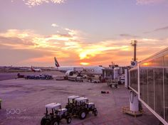 São Paulo-Guarulhos International Airport by RochelleT with sunsettraveltransportairporteveningairplaneBrazilEmiratesSão Paulo International Airport