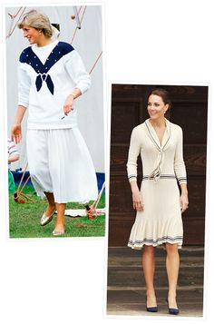Princess Diana and Kate Middleton's wear similar style that are sailor-inspired.