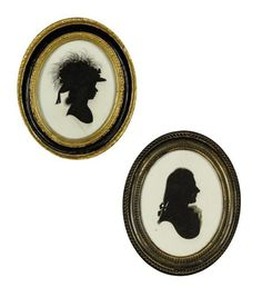 Christies: FOUR OVAL PORTRAIT SILHOUETTE MINIATURES, made by John Miers