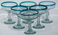 Mexican Margarita/Champagne Glasses, Hand Blown (Set of 6) Teal Rim, holds 10 oz.   http://www.ebay.com/itm/Mexican-Margarita-Champage-Glasses-Hand-Blown-Set-of-6-Teal-Rim-10-oz-/221373140212?ssPageName=STRK:MESE:IT