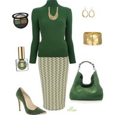 """Green"" by dmiddleton on Polyvore, #KarineSultan bracelet and earrings"