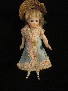 Antique-All-Bisque-Doll-French-Look-Closed-Mouth-Glass-Eye-Double-Strap-Shoes