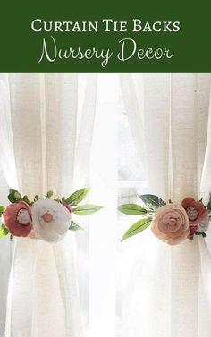 Curtain Tie Backs (SET OF 2) || Felt Flowers || Felt Curtain Tie Backs || Nursery Decor || Rifle Paper Co || Curtains || Floral Nursery #affiliate #baby #nursery #decor #nurserydecor