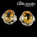 Oval Citrine Earrings With Diamond Accent Sides - 14k Gold - .16 CTTW Round Cut