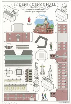 Independence Hall, Philadelphia - Cut Out Postcard Paper Doll House, Paper Houses, Cardboard Toys, Paper Toys, Free Paper Models, Paper Architecture, Origami Paper Art, Putz Houses, Glitter Houses