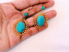 Excited to share the latest addition to my #etsy shop: Christmas Gift Bohemian Turquoise Statement Moonstone Aqua Gold Boho Antique Look Earrings with Handcrafted Gold Wire and Raw Aqua Stone