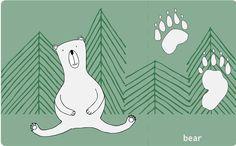 animal footprints cards brear free printable