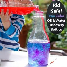 Two Color Oil and Water Discovery Bottles - Play Trains!