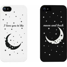 I Love You to the Moon and Back Couples Matching Cell Phone Cases for... ❤ liked on Polyvore featuring accessories and tech accessories