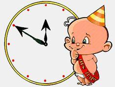animated clock striking midnight