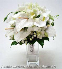 White Wedding Flower Arrangements | ... Floral Design Gallery - Anaheim, CA : White Anthurium Wedding Bouquet