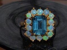 Vintage Blue Topaz and Opal Ring