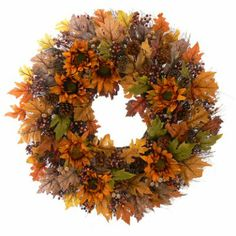 Sundried Floral Fall Wreath - 30 in - The Wreath Depot Thanksgiving Wreaths, Autumn Wreaths, Holiday Wreaths, Thanksgiving Decorations, Dried Sunflowers, Dried Flower Wreaths, Autumn Decorating, Diy Wreath, Door Wreaths