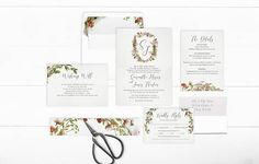 Monogram Wedding Invitation Suite Printable Floral Monogram Wedding Invite
