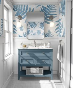 Forest Ferns Wallpaper   Blue Ferns Wallpaper   Blue and White Home   Blue and White Bathroom