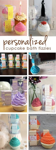 personalized cupcake bath fizzies QTY 12 by yourdirtylaundry, $48.00