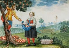 """Monthly Picture from the cycle """"The farm year,"""" gouache, third quarter of the 18th century"""