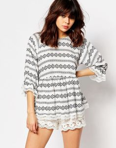 I+Love+Friday+Smock+Top+With+Lace+Trims+And+3/4+Sleeves