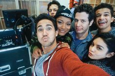 """""""The Keeksquad."""" That's me with Carlos PenaVega, David Del Rio, Tommy Kail (our director), Jordan Fisher, and Vanessa Hudgens."""