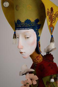 Купить Без названия - бордовый, кукла, картина, Паперклей, текстиль