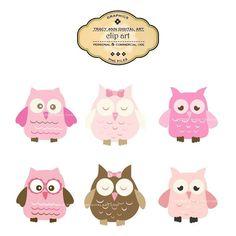 Owl Clip Art  Owl clipart  Pink Original by TracyAnnDigitalArt, $6.95