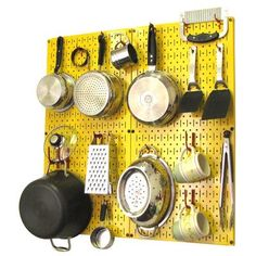 Wall Control Kitchen Organizer Pots & Pans Pegboard Pack Finish: Yellow / Red