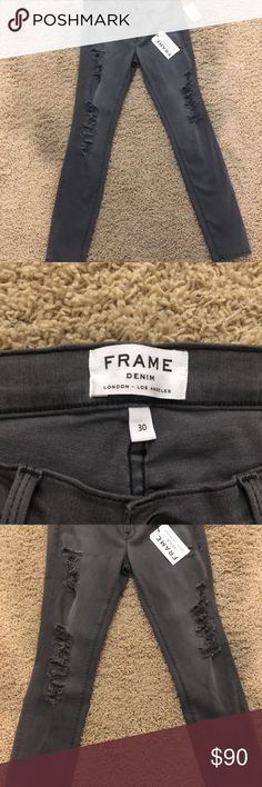 """Frame Denim Le Skinny De Jeanne Grey Shred Jeans 3 Inspired by London street style but made in Los Angeles—the heart of the denim industry—these chic, strategically shredded skinny jeans are supersoft and super-stretchy, for a flattering fit that slims the thighs while lifting the rear.  29 1/2"""" inseam; 10"""" leg opening; 8 3/4"""" front rise; 13 1/2"""" back rise  Zip fly with button closure  Five-pocket style  50% modal, 42% cotton, 6% polyester, 2% elastane  Machine wash cold, tumble dry low…"""